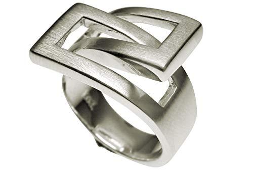 SILBERMOOS XL XXL Ringe in großen Größen Damen Ring elegant ineinander umschlungen 925 Sterling Silber Größe 64, 66, 68, 70, Größe:66 (21.0)