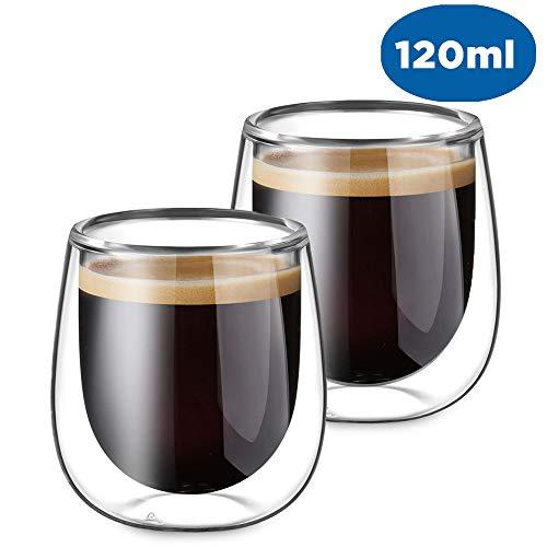 Glastal Doppelwandige Espressotassen Espresso Gläser Glas Set 2-teiliges 120ml(Volle Kapazitat) Espresso-tasse Set