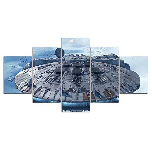 Yyjyxd HD Drucke 5 Panels Millennium Falcon Bilder Leinwand star war Malerei Wandkunst Für Wohnzimmer Dekoration-8 x 14/18/22inch,With frame