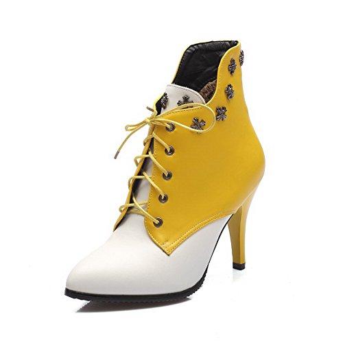 AllhqFashion Damen Schnüren Hoher Absatz Pu Zweifarbig Stiefel mit Rivet Set Gelb