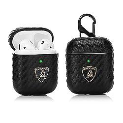 LKDEPO Airpods Leder Case Cover Kits mit Schlüsselanhänger, kompatibel für Airpods 1 & 2 [LED vorne] [3D Auto Markenmuster] [Stylisches Designer für Herren und Jugendliche] Lamborghini-1