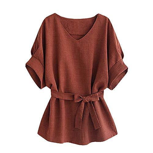 TOPSELD T Shirt Damen, Frauen V-Ausschnitt Selbst Tie Kurzarm Bluse Tops ()
