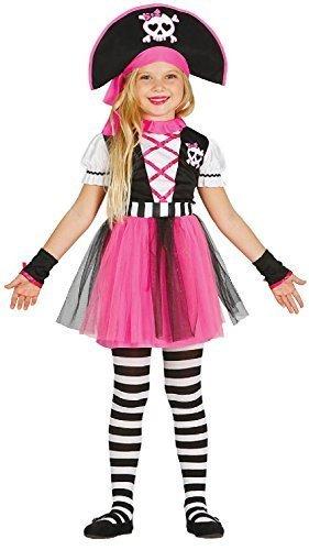 Fancy Me Mädchen Kleinkind Kinder Süß Pink Schädel Piraten Halloween Karneval Welttag des Buches Woche Kostüm Kleid Outfit 3-9 Jahre - Rosa, 5-6 Jahre (116) (Kinder Rosa Piraten Kostüm)