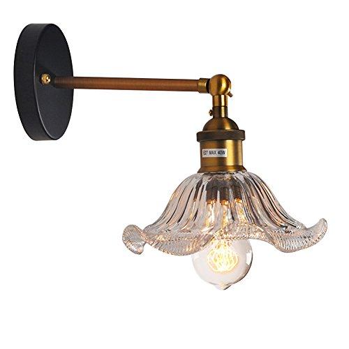 TJW Verre Suspension Abat-Jour Fixation, rétro Industriel Plafonnier Lampe avec E27 liés à, Home Bar Romantique Luminaire Cage (Ampoules Non incluses), Verre, Wall Light