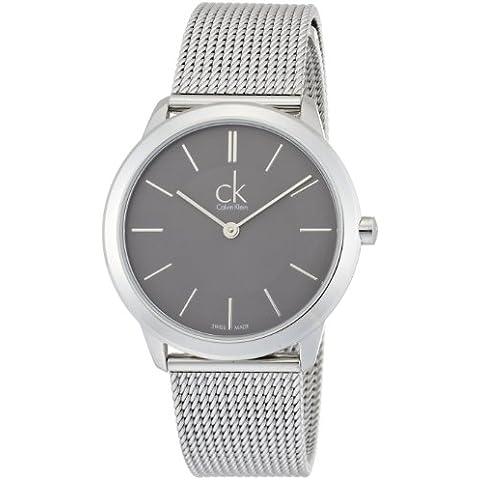 Calvin Klein K3M22124 - Reloj analógico de cuarzo para mujer con correa de acero inoxidable, color plateado
