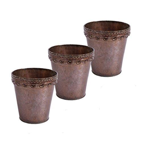 Ensemble de 3 pots de fleurs planteur plante pot rond Deco métal finition motif Verdigris (D13 x H14 cm)