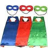 WOWOSS 3 Set Superhelden Umhang Maske, Superhelden Kostüm Kinder die Mantel Jungen und Mädchen Superheld Spielwaren für Geburtstag und Kinderkostüm Partei zurechtmachen