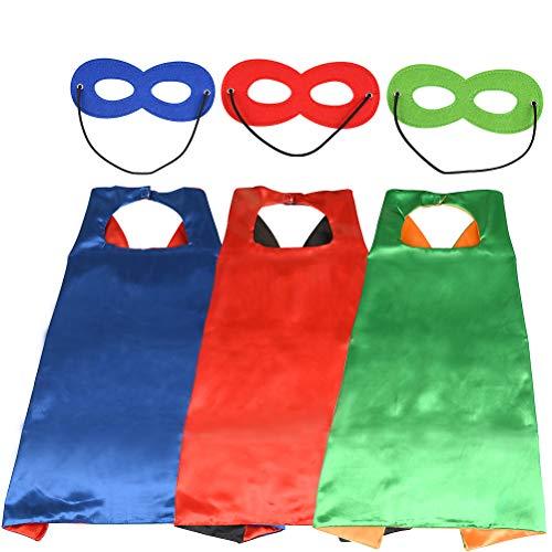 WOWOSS 3 Set Superhelden Umhang Maske, Superhelden