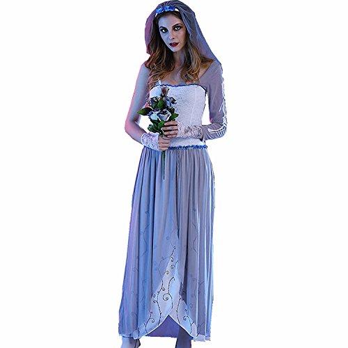 JYSPORT Halloween Kostüm Cosplay Fasching Kleid Damen Zombie Leiche Abendkleider Vampir Karneval Anime Outfit (M) (Vampir Halloween Outfit)