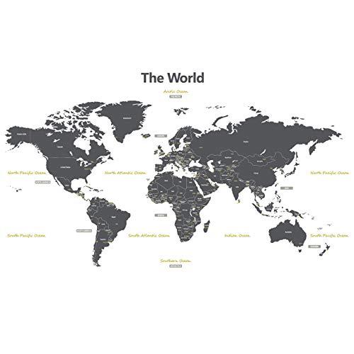Cartina Geografica Del Mondo Grande.Dettagli Su Decowall Dmt 1509 Cartina Geografica Del Mondo Adesiva Da Attaccare Al L6k