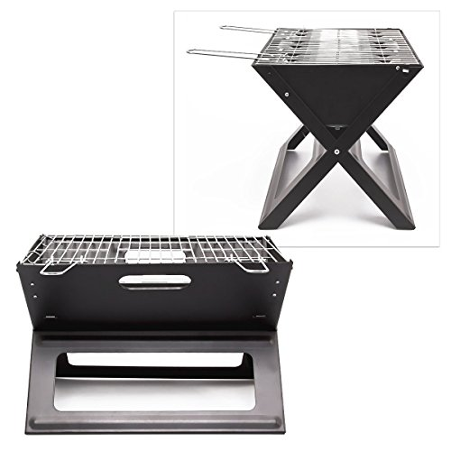 41M4GC5sQCL - Relaxdays Klappgrill, praktisch, tragbar, inkl. Rost und Kohleschale, H x B x T: 30,5 x 30 x 45,5 cm, schwarz