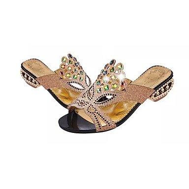 RTRY Donna Pantofole &Amp; Flip-Flops Comfort Estivo Pu Dress Chunky Heel Crystal / Tacco Di Cristallo Nero / Blu / Verde Altri US6.5-7 / EU37 / UK4.5-5 / CN37