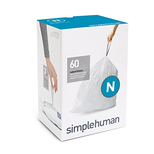 simplehuman Code N Plastic Custom Fit Bin Liner, Pack of 60, White