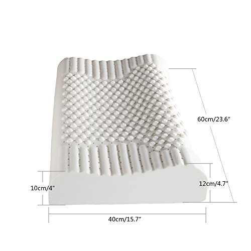 Top finel Natural Masaje Contorno ergonómico de espuma de látex para cuello/hombro dolor y fatiga alivio, Eco-friendly hipoalergénico y antiácaros con ventilación y partículas transpirable almohadas, Rjz003, 40x60cm