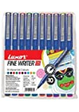 Writeaway Luxor Fine Writer Micro Ball Pen 0.5mm(Assorted,Multi Colour) Pack Of 10