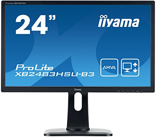 iiyama ProLite XB2483HSU-B3 60,5cm (23,8 Zoll) AMVA LED-Monitor Full-HD (VGA, HDMI, DisplayPoOrt, USB2.0, Höhenverstellbar, Pivot) schwarz