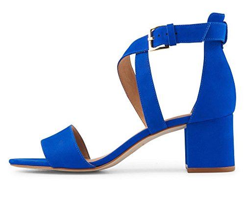 uBeauty,Damen Blockabsatz Criss Cross Strap Sandalen Mit Schnalle,Low Heel Blau Nubukleder