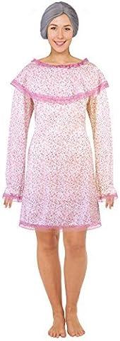 Femmes Vieille Dame Mamie Grand-mère + Perruque Costume Déguisement UK 10-12-14