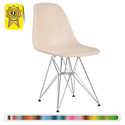 Decopresto 1 x Chaise Design Scandinave Retro Haut: 48 Creme Pieds Acier INOX Chrome DP-DSR48-CR-1P
