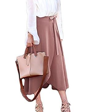 La Mujer Elegante Plus Tamaño De Hendidura Cintura Alta Falda Larga Asimétrica Bowtie Partido