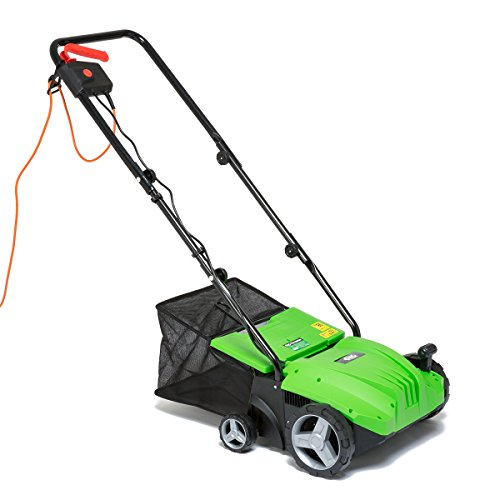 BMC 1500w 2 in 1 Electric Lawn Scarifier Aerator Lawn Rake with 35 Litre Collection Bag & 20 Spring Tine Bar for Removing Moss Leaves & Debris Fitted 10m Cable 5 Depth Positions – 2 Years Warranty