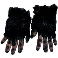 gants de singe poilus mains noires avec poils long gorille