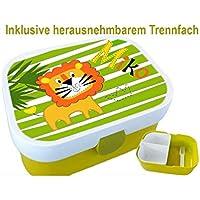 Kindergarten Brotdose, Löwe, mit Name, Mädchen, Jungen, Trennfach, Schule, Kita, personalisiert, Lunchbox, Brotzeitdose, Vesperdose, Vesperbox, ginidesign