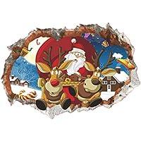 Vosarea Las Decoraciones del Reno de Las Etiquetas engomadas de la Pared de 3D Papá Noel para el hogar casero del Dormitorio de la Pared adornan la decoración