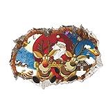 Vosarea 3D Adesivi Babbo Natale murali Decorazioni per la casa Camera da Letto Soggiorno Arredamento