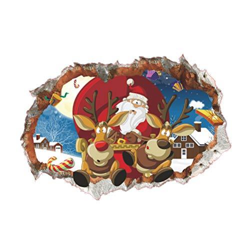 (Vosarea 3D-Wandaufkleber, Weihnachtsmann, Motiv Rentiere, Haus Wand, Schlafzimmer, Wohnzimmer, Dekoration)