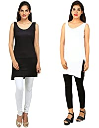 ALBATROZ Women's Modal Full Slip Thigh Length Cool Fabric Long Sando Shameej, Large (Black and White, ls_104)