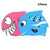 ipow 2 PZ Cuffia da Nuoto Bambini Cuffia Piscina Bambino in Silicone atossico Antiscivolo, Impermeabile, Cura dei Capelli, Blu Pesce e Squalo Rosa