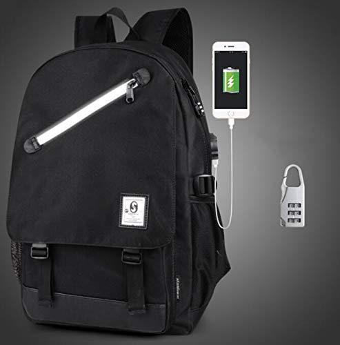 Marbeine Rucksack, Schulranzen, Schultasche, Freizeit, Reisetasche mit USB-Port, Diebstahlsicherung für Computer Grau grau M