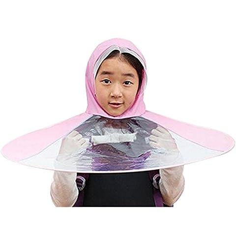Eizur UFO Foldable Umbrella Cap Portable Lightweight Creative Transparent Headwear, Hands Free Cap & Umbrellas Rain Protection Hat Cap For Children Kids Boys Girls Diameter 70cm--Pink