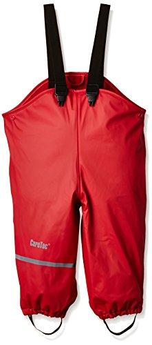 CareTec Kinder wasserdichte Regenlatzhose mit Fleecefutter (verschiedene Farben), Rot (Red), 104