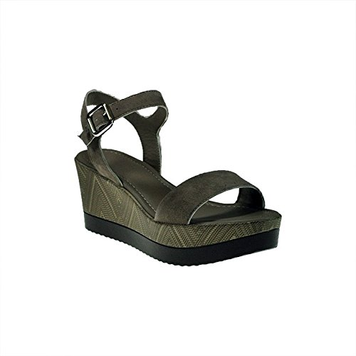 FRAU 88C1 taupe scarpe donna sandali zeppa camoscio light