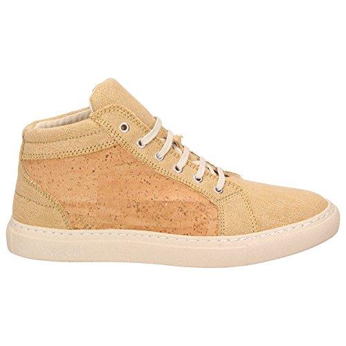 ZWEIGUT® -Hamburg- echt #404 Herren High-Top Kork Schuhe Freizeit Sneaker vegan und nachhaltig, Schuhgröße:47, Farbe:sand-kork - 2