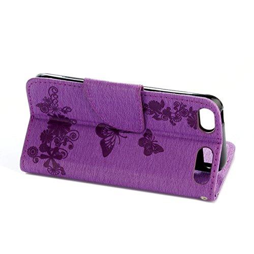 Custodia iPod touch 5, ISAKEN Cover iPod touch 6, Elegante borsa Tinta Unita Albero Design in Sintetica Ecopelle PU Pelle Flip Cover Protettiva Portafoglio Case Caso con Supporto di Stand / Carte Slot Farfalla: violet