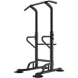 Barre de Traction Ajustable Workout Dip Station Fitness Power Tower Chaise Romaine pour l'entraînement à la Maison Physique D'entraînement de Musculation, PSBB002