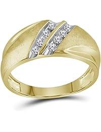 10 KT Or jaune pour homme Diamant rond Croix chrétienne Bague Forte carat  ... 385c220dc760