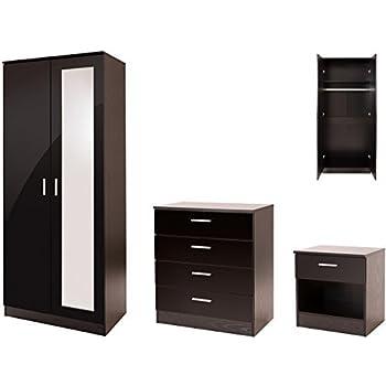 High Gloss 3 Piece Bedroom Furniture Set With 2 Door Mirrored Wardrobe    Ottawa Caspian SUPREME Range (Black)