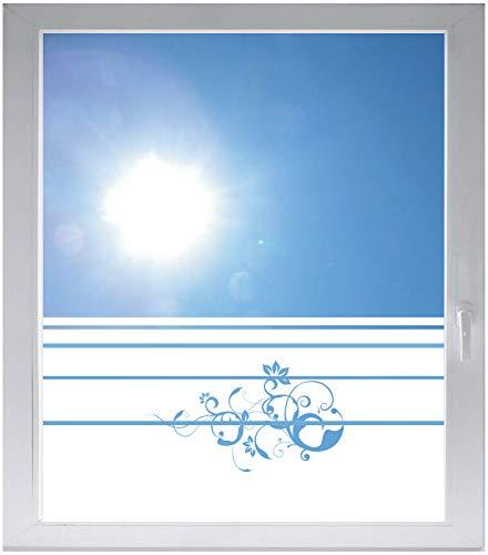 INDIGOS UG Sichtschutzfolie Glasdekorfolie Fensterfolie mit Motiv satiniert Blickdicht - w306 Ranke Pflanze Blume Natur - 1200 mm Länge - 500 mm Höhe Streifen - Satiniert Mit Streifen