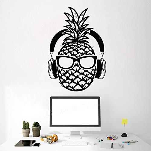 Kreative Ananas DJ Vinyl Wandtattoo Kopfhörer Sonnenbrille Dekoration Teenager Aufkleber Wandhauptdekor Schlafzimmer Spielzimmer 42X60 cm