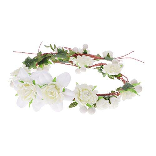 Prettyia Haarkranz Blumen Damen Mädchen Hochzeit Kommunion Blumenhaarkranz - Beige
