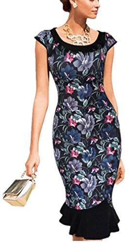 SHUNLIU Damen Kleid 2017 Elegant festlich Kurzarm Knielanges Fishtail Rock Abendkleid Cocktailkleid Partyskleid moderne Bleistiftrock Gr.S-XXL Bunt Blumen bedruckt