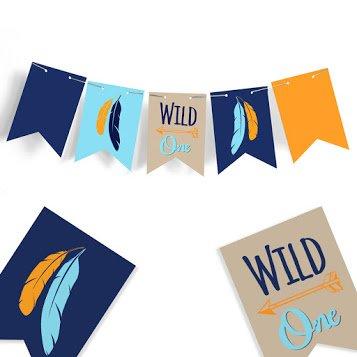 Signatives One Banner–Hochstuhl Banner–Baby Dusche Banner–Kinderzimmer Decor–Feder Banner–Pfeil Decor–Rustikal Banner–Wild One Geburtstag–Jungle Geburtstag–Wild One Banner