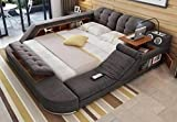 Quality Furniture Grey Fabric Cloth Modern Soft Beds for Home Bedroom Furniture
