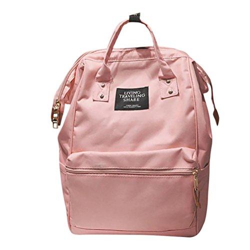 DOGZI Handtasche Damen, Klein Transparente Tasche Rucksack Damen Ledertasche Kleine Unisex Solide Rucksack Schule Reisetasche Doppel Umhängetasche Reißverschlusstasche (Rosa) -