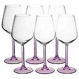 Set di 6 calici da vino decorativi, design moderno con stelo viola, adatti sia per vino rosso che bianco