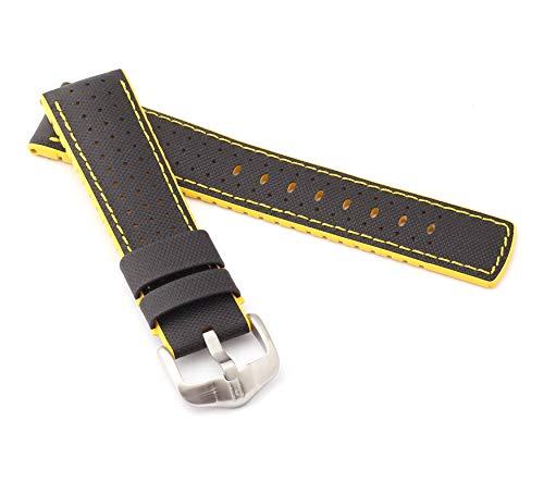 mance Uhrenarmband Modell Robby 22 mm Schwarz/gelb ()